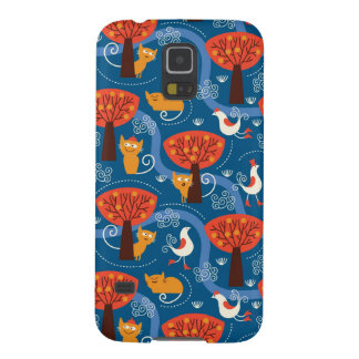 pattern with cute cats and birds galaxy s5 cases