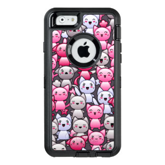 pattern with cute kawaii doodle cats 2 OtterBox defender iPhone case