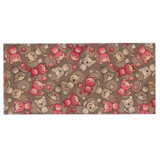 pattern with cute kawaii doodle cats wood USB 2.0 flash drive