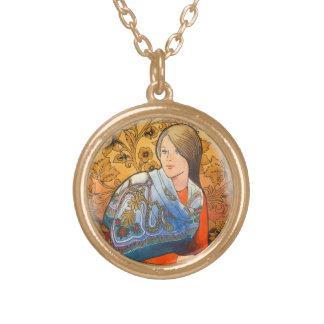 Pattern with elements of Khokhloma painting. Round Pendant Necklace
