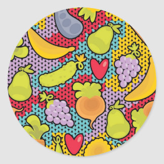 Pattern with fruits and vegetables classic round sticker