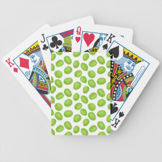 Pattern with  green olives bicycle playing cards