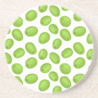 Pattern with  green olives coaster