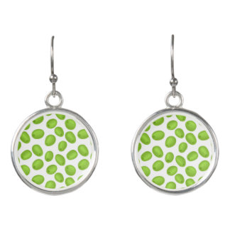 Pattern with  green olives earrings