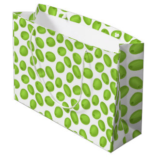 Pattern with  green olives large gift bag