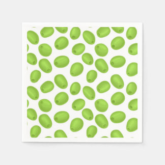 Pattern with  green olives paper serviettes