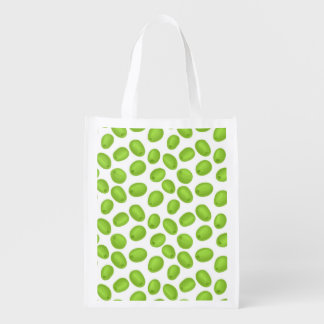 Pattern with  green olives reusable grocery bag