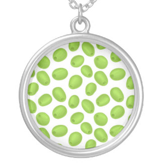 Pattern with  green olives silver plated necklace