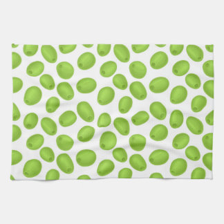 Pattern with  green olives tea towel