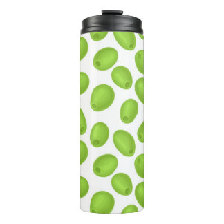 Pattern with  green olives thermal tumbler