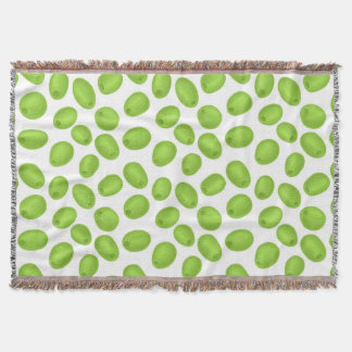 Pattern with  green olives throw blanket