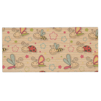 pattern with insects wood USB 2.0 flash drive