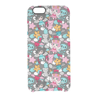 Pattern with kawaii doodle clear iPhone 6/6S case