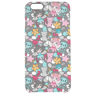 Pattern with kawaii doodle clear iPhone 6 plus case