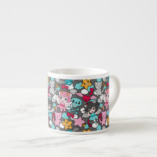 Pattern with kawaii doodle espresso mug