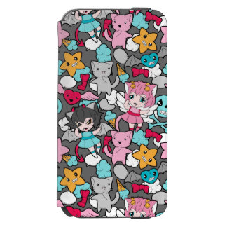 Pattern with kawaii doodle incipio watson™ iPhone 6 wallet case