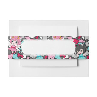 Pattern with kawaii doodle invitation belly band