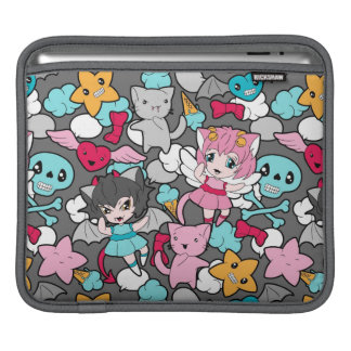 Pattern with kawaii doodle iPad sleeves