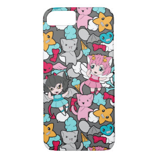 Pattern with kawaii doodle iPhone 7 case