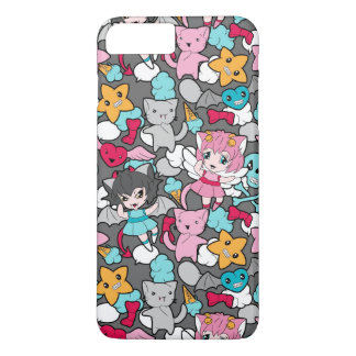 Pattern with kawaii doodle iPhone 7 plus case