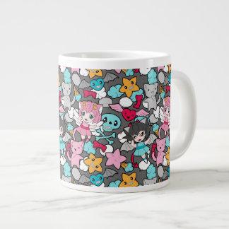Pattern with kawaii doodle jumbo mug