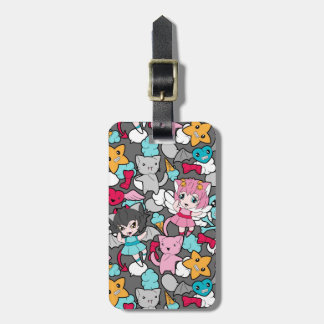 Pattern with kawaii doodle luggage tag
