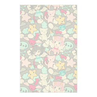 Pattern with kawaii doodle personalized stationery