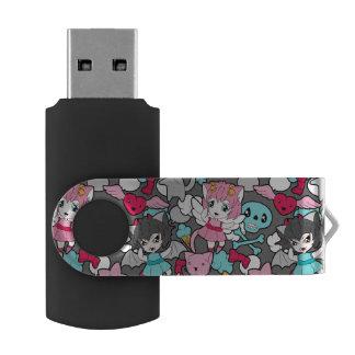 Pattern with kawaii doodle swivel USB 2.0 flash drive