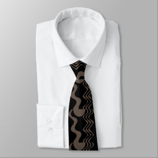 Pattern with Movement in Tan and Black Tie