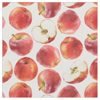 Pattern with red apples fabric