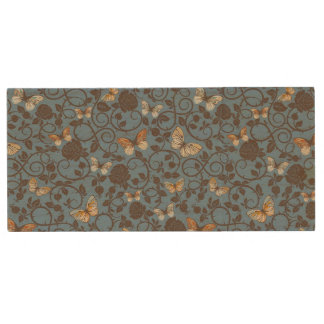 pattern with roses and butterfly wood USB 2.0 flash drive