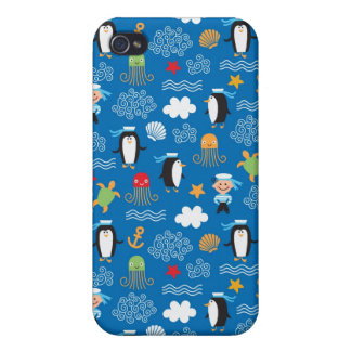 pattern with sea theme case for iPhone 4