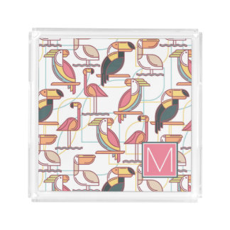 Pattern With Tropical Birds | Add Your Initial