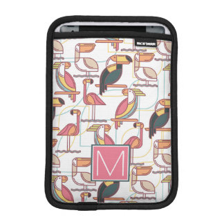 Pattern With Tropical Birds | Add Your Initial iPad Mini Sleeves