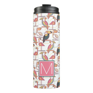 Pattern With Tropical Birds | Add Your Initial Thermal Tumbler