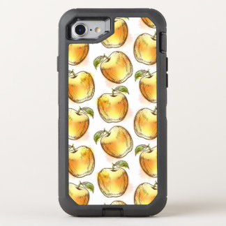 Pattern with yellow apple OtterBox defender iPhone 7 case