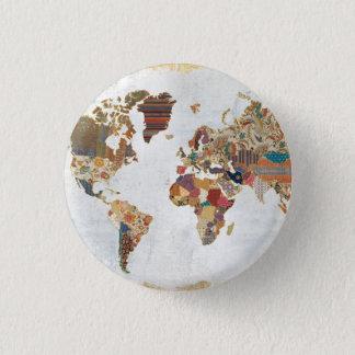 Pattern World Map 3 Cm Round Badge