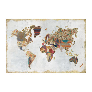 Pattern World Map Acrylic Wall Art