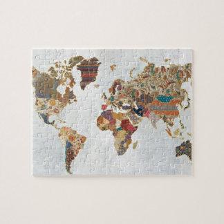 Pattern World Map Jigsaw Puzzle