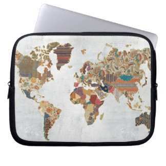 Pattern World Map Laptop Sleeve