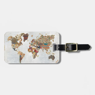 Pattern World Map Luggage Tag