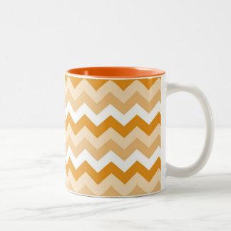Pattern zigzags (orange and blank) Two-Tone coffee mug