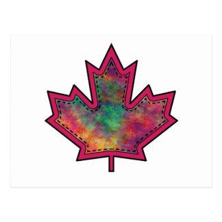 Patterned Applique Stitched Maple Leaf  6 Postcard