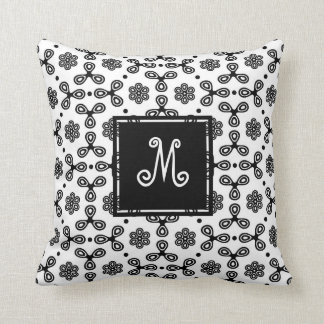 Patterned Black and White with Custom Monogram Cushion