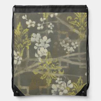 Patterned Blossom Branch I Drawstring Backpacks