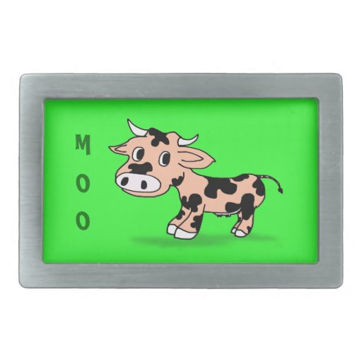 Patterned Cartoon Cow on Green with Moo Belt Buckles