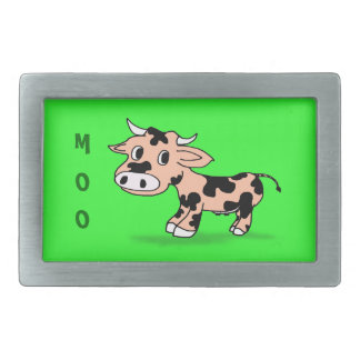 Patterned Cartoon Cow on Green with Moo Rectangular Belt Buckles