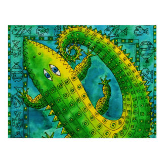 Patterned Crocodile Postcard