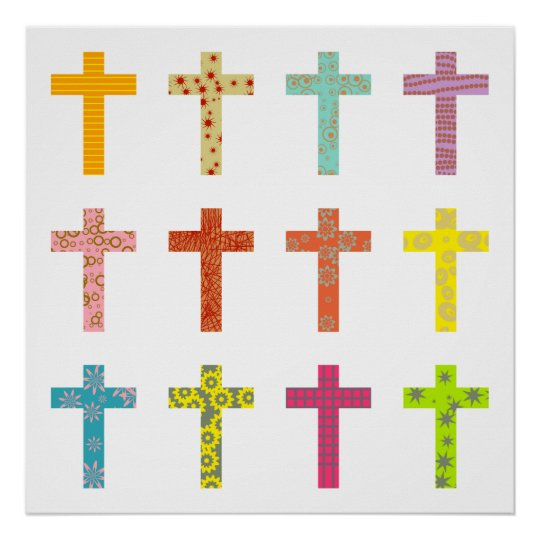 Patterned Crosses Poster