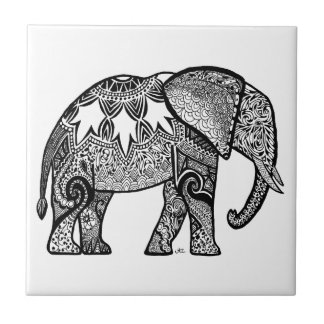 Patterned Elephant Ceramic Tile
